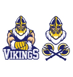 viking warrior mascot crossed arm pose vector image vector image