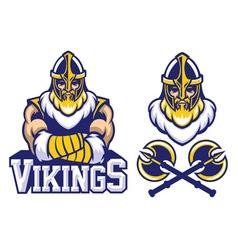 viking warrior mascot crossed arm pose vector image