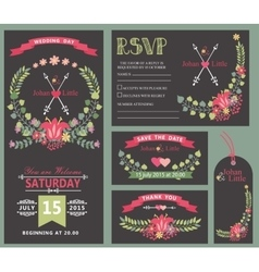 Wedding invitation template setFloral wreath vector image