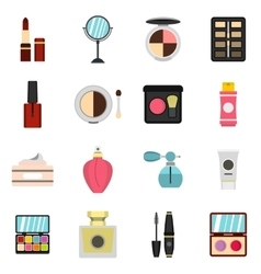 Cosmetic icons set flat style vector image