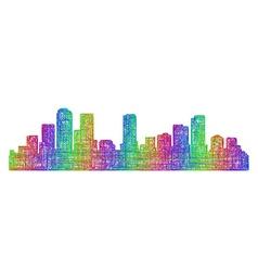 Denver skyline silhouette - multicolor line art vector image