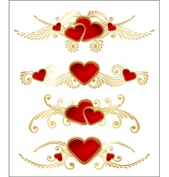 floral set with hearts vector image