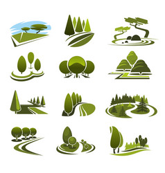 icons for green landscape eco design vector image vector image