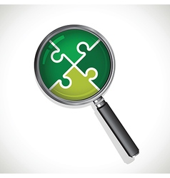 magnifying glass on a green jigsaw vector image