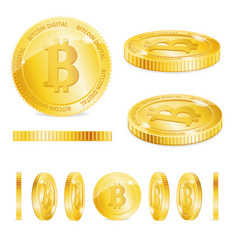 realistic detailed 3d golden bitcoins set vector image vector image