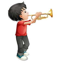 A boy playing with his trombone vector image vector image