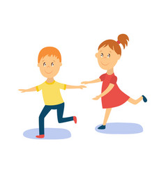 flat cartoon boy girl kid dancing isolated vector image vector image