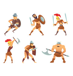 rome knights or gladiators in different action vector image