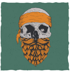skull with beard vector image vector image