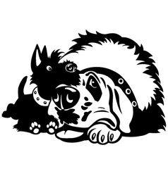 two cartoon dogs black white vector image vector image