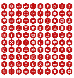 100 boxing icons hexagon red vector