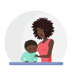 African american black mother supporting crying vector