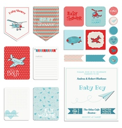Baby Shower Boy Set - Tags Banners Labels Cards vector