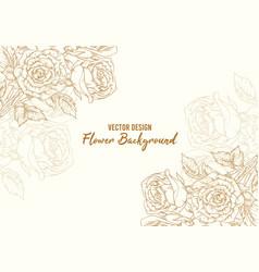 background hand drawn rose flower floral sketch vector image