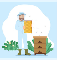 beekeeper collect honey unload honeycomb in frame vector image