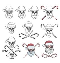 Big set santa claus skulls with candy cones and vector