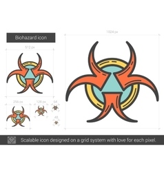 Biohazard line icon vector
