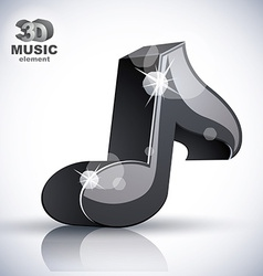 Black musical note 3d modern icon isolated vector image