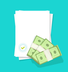 Blank document with seal stamp and approved money vector