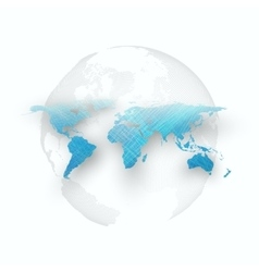 Blue color background with world map shadow vector image