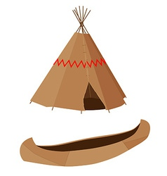 Brown canoe and wigwam vector image