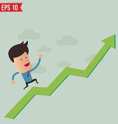 Business man run over the graph - - eps10 vector