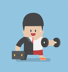 Businessman between work mode and exercise vector image