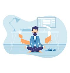 Businessman in working balance zen vector
