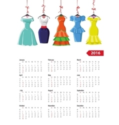 Calendar 2016 yearFemale summer dresses vector image