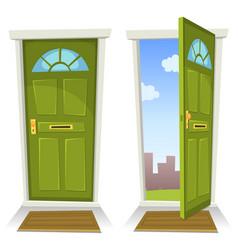 Cartoon green door open and closed vector