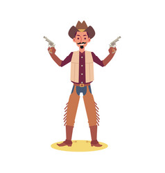 cartoon man in cowboy costume holding two guns and vector image