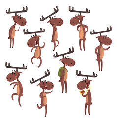 Cartoon set of funny brown moose in various poses vector
