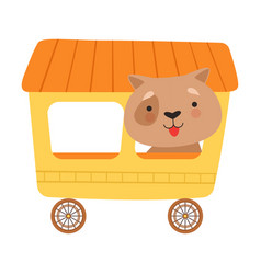 Cheerful red cheeked dog driving toy wheeled vector