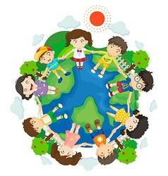 Children holding hands around earth vector