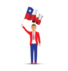 chile flag waving man vector image