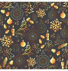 Christmas seamless pattern with xmas vector