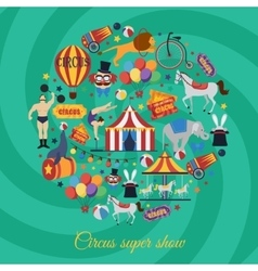 Circus super show icons vector