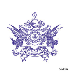 Coat arms sikkim is a indian region emblem vector