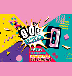 Colourful 90s forever poster design vector