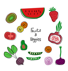 colourful cartoon fruits and veggies set hand vector image