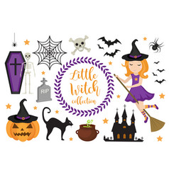 cute little witch halloween objects vector image