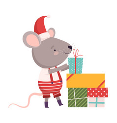 cute mouse with gift boxes cute small rodent vector image