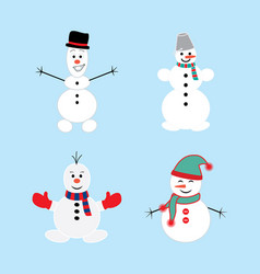 cute winter holiday snowmans in different costumes vector image