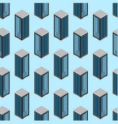 data center seamless pattern background isometric vector image