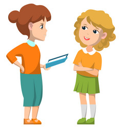 elementary schoolgirls holding book image vector image