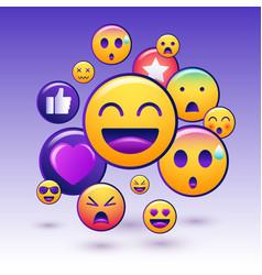 Emoji icons set emoticon for messenger social vector