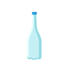Empty plastic bottle with long narrow neck and vector