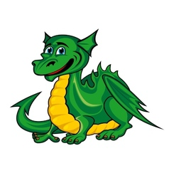 fantasy green dragon kid vector image