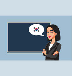 Female professor teaching korean language cartoon vector