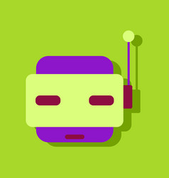 Flat icon design collection toy robot face in vector